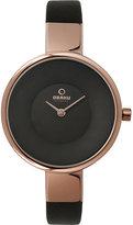 Obaku Ladies' Rose Gold Plate & Brown Leather Strap Watch