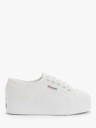 Superga 2790 ACOTW Flatform Plimsolls, White Canvas