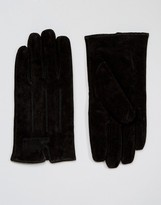 Barney's Originals Barneys Casual Suede Gloves in Black