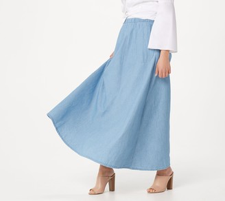 Joan Rivers Classics Collection Joan Rivers Petite Pull-On Denim Maxi Skirt