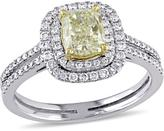 Julie Leah 1 3/7 CT TW Yellow and White Diamond 14K Two-Tone Gold Halo Engagement Ring