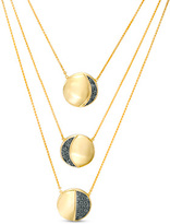 """Zales 1/5 CT. T.W. Enhanced Black Diamond Moon Triple Strand Necklace in Sterling Silver and 14K Gold Plate - 28"""""""