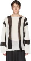 Sulvam White and Black Open Knit Crewneck Sweater