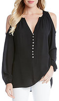 Karen Kane Cold Shoulder Button Front Blouse