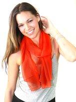 NYFASHION101 Women's Versatile Solid Sheer Chiffon Scarf Headwear - Orange