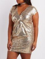 Charlotte Russe Plus Size Sequin V-Neck Bodycon Dress