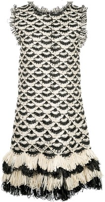 Oscar de la Renta Fringed Hem Crochet Dress