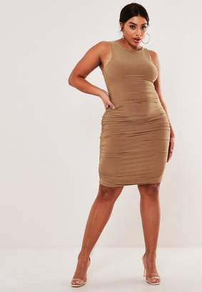 Missguided Plus Size Camel Slinky Ruched Racer Neck Bodycon Dress