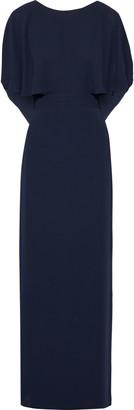 Halston Cape-effect Draped Crepe De Chine Gown