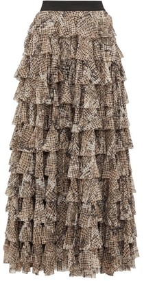 Norma Kamali Python-print Tiered-ruffle Skirt - Grey Print