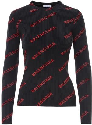 Balenciaga Allover Logo Ribbed Long-Sleeve Top
