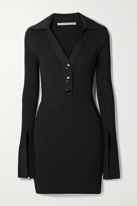 Alexander Wang Ribbed Stretch-knit Mini Dress - Black