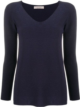 D-Exterior Metallic Ribbed Pullover