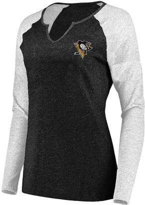Majestic Women's Black/White Pittsburgh Penguins Plus Size Raglan Notch Neck Long Sleeve T-Shirt