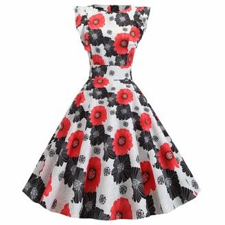 IMEKIS Women Vintage Floral Print Dress Ruffle Sleeve A Line 1950s Polka Dot Cocktail Party Swing Dress Knee Length Pleated Skirt Elegant Retro Formal Ball Gown Green 2XL