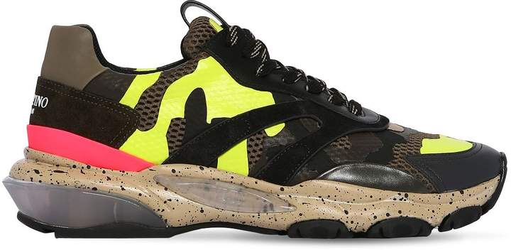 Valentino Bounce Mesh & Leather Sneakers