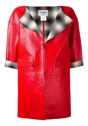 Chanel Red Leather Coats