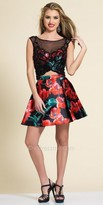 Dave and Johnny Shimmering Two Piece Abstract Floral Party Dress
