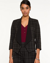 Le Château Viscose Blend Check Shawl Collar Blazer