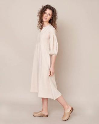Beaumont Organic Andreia May Linen Dress In Bone - Bone / Medium