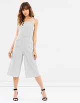 Mng Striped Cotton Jumpsuit