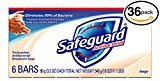 Safeguard (PACK OF 36 BARS BEIGE Antibacterial Bar Soap for Men & Women. ELIMINATES 99% OF BACTERIA! Washes Away Dirt & Odor! Healthy Skin for Hands, Face & Body! (36 Bars, 4.00oz Each Bar)