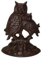 DCI Product Owls on a Tree Limb Cast Iron Wedge Doorstop Statuary