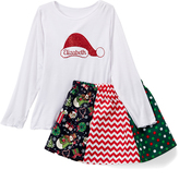 Beary Basics White Personalized Tee & Red A-Line Skirt - Toddler & Girls
