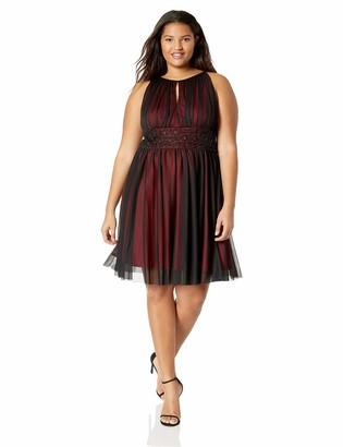 Jessica Howard JessicaHoward Size Womens Sleeveless Shirred Dress with Inset Beaded Waist
