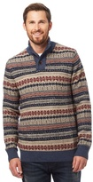 Mantaray Multi-coloured Patterned Button Neck Knitted Jumper With Wool