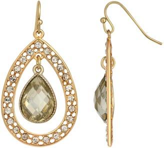 1928 Gold-Tone Crystal Suspended Teardrop Earrings