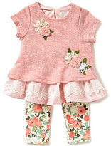 Rare Editions Baby Girls 3-24 Months Flower-Appliqued Tonal-Color Block Top & Floral-Print Leggings