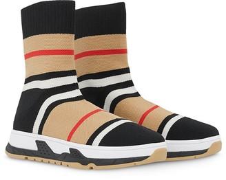 BURBERRY KIDS Stretch Knit Sock Sneakers