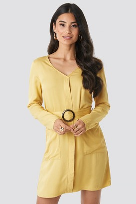 NA-KD Belted Long Sleeve Dress