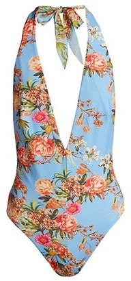 Adriana Iglesias Holly Deep-V Floral Stretch-Silk Bodysuit