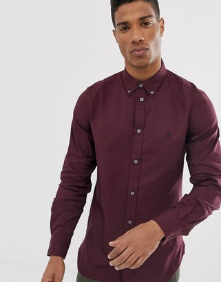 French Connection oxford button down logo shirt-Red