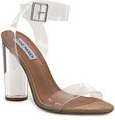 Steve Madden Clearer Vinyl and Lucite Block Heel Dress Sandals
