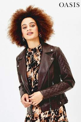 Oasis Womens Brown Faux Leather Biker Jacket - Brown