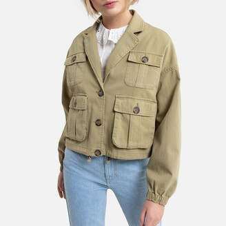 Only Cotton/Linen Cropped Jacket with Button Fastening