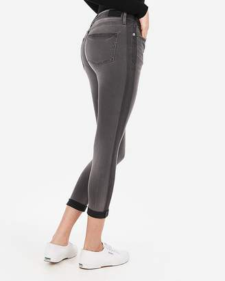 Express Mid Rise Black Cropped Double Roll Jean Leggings