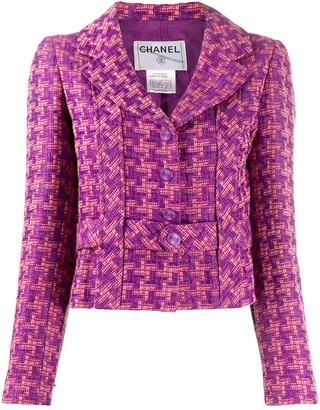 Chanel Pre Owned Houndstooth Pattern Belted Jacket