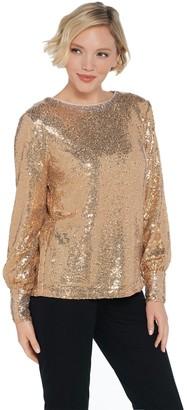 Martha Stewart Sequin Blouse with Blouson Cuffed Sleeves