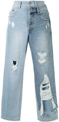 Sjyp Panelled Cropped Jeans