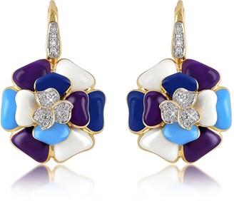 Rosato Tearose - Diamond and 18K Gold Blue Flower Earrings