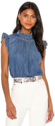 Frame Ruffle Denim Sleeveless Top. - size L (also