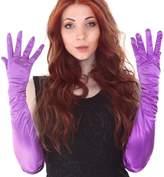 "Simplicity Womens Long Purple Gloves Bridal Banquet Party Wedding Satin Opera Gloves 22"""