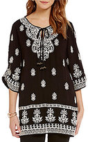 Tolani Eileen V-Neck Tassel Tie Embroidered Tunic
