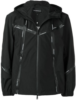 Emporio Armani logo tape hooded track top