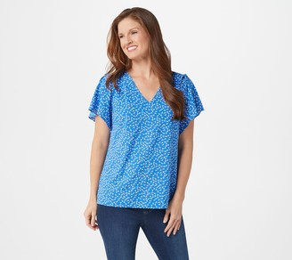 Belle By Kim Gravel Daisy Print Ruched Flutter- Sleeve Blouse