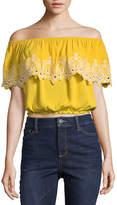 Self Esteem Short Sleeve Gauze Dress Shirt Juniors